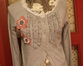 Cotton Cardigan with Lace, Wool Flowers and Ruffles.Size M,Ready to Ship 20.00