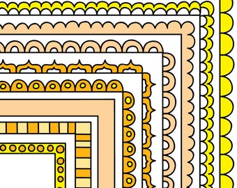 Yellow Digital Frames, Stackable Doodle Borders, Instant Digital Download Commercial Use Clipart