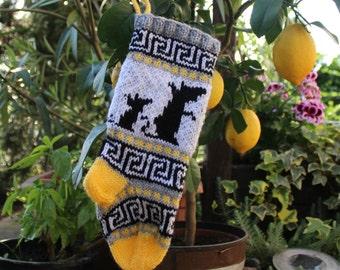 Christmas Stocking Knitting Pattern Fairisle Mice Santa Sock Holiday Stocking Small Size PDF download