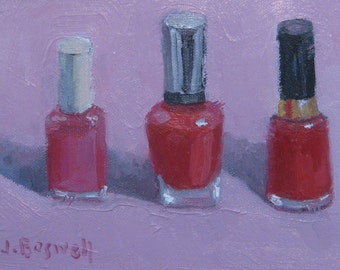 Valentines Gift for Her Pink and Red Nail Polish Still Life Realism Original Oil Painting Modern Impressionist Brushstrokes Jennifer Boswell