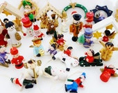 10 Vintage Hand Painted Christmas Tree Ornaments Erzgebirge German Folk Art Angel Snowman Nutcrackers Santa Claus