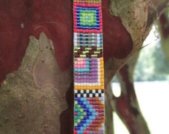 SALE OOAK Multi color abstract beaded leather bracelet - Cabo - colorful fringe tassel friendship bracelet boho by slashKnots