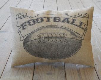 Football Banner Burlap Pillow, Sports, Football, INSERT INCLUDED