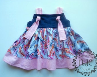 Jewel Feathers Knot Dress - Denim and Pink Girls dress
