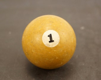 Vintage / Antique Clay Billiard Yellow Number 1, Standard Pool Ball Size (c.1910s) - Collectible, Home Decor, Altered Art