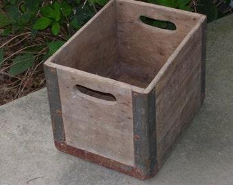 Vintage Wooden Milk Crate. Reinforced Metal Corners