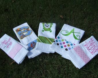 Burp Cloths, Embroidered Burp Cloths, Custom Burp Cloths, Personalized Burps Cloths. Set of 3