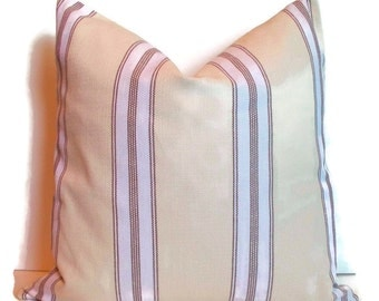 Farmhouse Pillow Lined Grain Sack Pillow Brown Ticking Pillow Cover Brown Grainsack Pillow