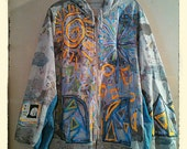 Galaxy Peace Warrior Hand Painted Hoodie Art Jacket 2x 3x Plus uPCYCLED bOHO cHIc Gray Yellow Green Blue  Multi Colored Graffiti