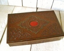 Vintage jewelry box Celtic knot Art Nouveau brown faux leather red medallion