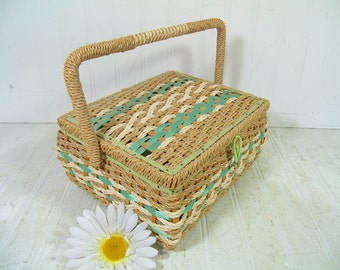Shabby Chic Rectangular Ivory & SeaFoam Green Wicker Sewing Basket - Vintage Wooden Crafters Case - Mint Green Satin Interior Artisan Chest
