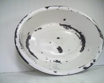 Vintage Black on White EnamelWare Porcelain Huge Oval Bowl - Rustic XXL DishPan for Kitchen - FarmHouse Primitive Porcelain Bathing Basin