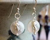 Seahorse Earrings, Sterling Silver & Mother of Pearl, Seahorse Jewelry, Summer Beach Earrings, Ocean Gift, Handcrafted, Artisan, Handmade