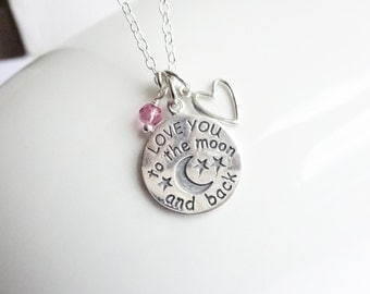 Sterling Silver Love You To the Moon and Back Birthstone Heart Necklace.... Choose your birthstone