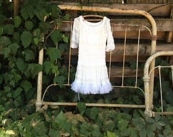 white frou frou party lace lacey anthropologie like shabby bridesmaid rustic boho honeymoon beach shower Gypsy mori bride dress tunic