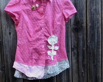 autumn berry pie hand dyed dark pink gypsy boho gypsy boho prairie rustic vintage linen blouse