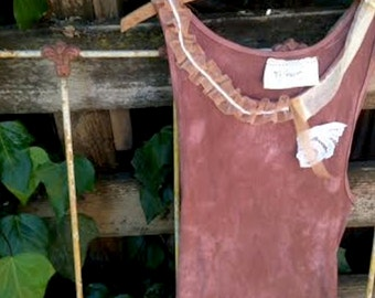 CUSTOM EXAMPLE of 2 simple hand dyed brown mocha anthropologie like chocolate cotton lace awesome boho girl gypsy ooak tee tank top