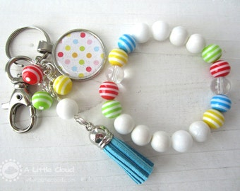 Fun Keychain and Stretchy Bracelet Coloured Gift Set for a Young Girl, Teenager, Circus