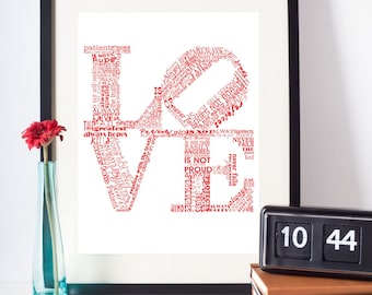 Valentine Print Love Never Fails RED Art Print Valentines Day Gift Valentines Day Art Love is Patient Love is Kind 1 Corinthians 13