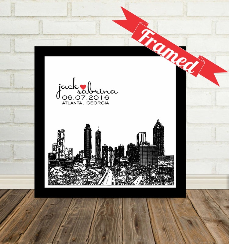 First anniversary gift paper city skyline by