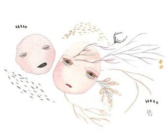Strange art print, unique unusual artwork, creature face painting