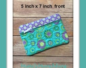 Turquoise & Lavender Quilted Zippered Cosmetic Bag/ Make Up Bag/ Cell Phone Bag/Eyeglass Case/ Toiletry Bag/ Ready to Ship