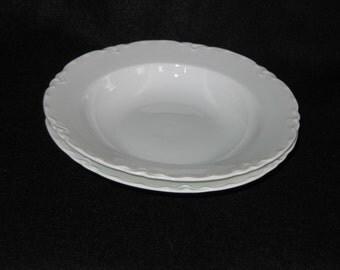 Set of Two Vintage K & A Selb Bavaria White Porcelain Soup Bowls plus FREE Matching Saucer!