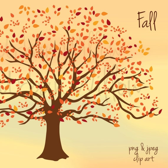 FALL Clip art tree Clip art image in 3 sizes Small to