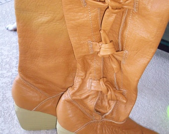 Tall Caramel Leather Wedge Boots with Side Strappy Ties