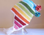 CROCHET PATTERN - Snow Day - a crochet earflap hat pattern, striped hat (Infant, Baby, Toddler, Child, Adult sizes) - Instant PDF Download