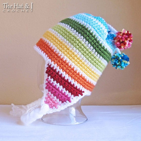 CROCHET PATTERN - Snow Day - crochet earflap hat pattern, crochet hat pattern, striped hat (Infant - Adult sizes) - Instant PDF Download
