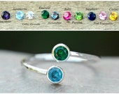 DUAL BIRTHSTONE RING - Birthstone Ring, Two Birthstones,gemstone couples ring silver double birthstone ring~mother's ring~Dual Gemstone Ring