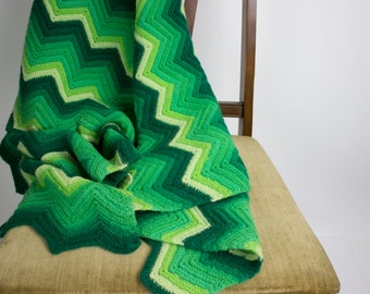 Monochromatic Green Afghan Blanket