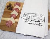 Flour Sack Towel - Hand Printed Dish Towel - Tea Towel - Screen Printed Kitchen Towel - Pig Butcher Diagram - Bacon