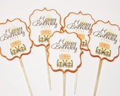 Happy Birthday Toppers and/or Centerpiece Yellow, Orange, and Brown Birthday Cake Set of 5