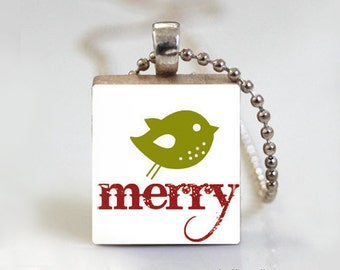 Noel Christmas Merry Holidays - Scrabble Pendant Necklace with Ball Chain Necklace or Key Ring