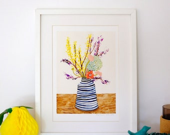 A4 Giclee print: Spring bunch in stripe vase
