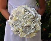 READY TO SHIP Ivory Hierloom Bridal Bouquet plus Boutonnire - Ivory Wedding Bouquet - Medium 8 inches
