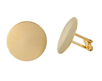 10 Gold Plated CUFF LINKS Blanks, CUFFLINKS, fits 25mm Round Cabochon Pad, fin0570