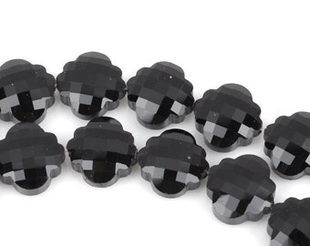 10 JET BLACK QUATREFOIL Crystal Glass Beads, checkerboard faceted,  20mm, bgl1351