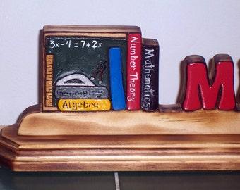Math Teacher Gift  Nameplate with Chalkboard