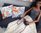 Delicate cable knit throw blanket in ivory with or without 2 modern fox pillows in orange, white and blue for sixth scale diorama