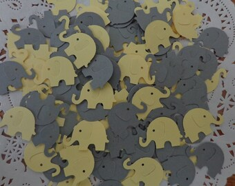 120 Yellow and Grey Elephant Die Cuts - Paper Punches - Scrapbooking Embellishments - Confetti - Table Scatter - Gender Neutral  Shower