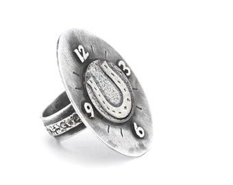 A ring with A Horseshoe coin medallion - One of kind - Handmade ring-Ring.