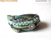 ON SALE Boho Wrap Bracelet / Mint Bracelet / Suede Bracelet / Mint Green / Womans Bracelet