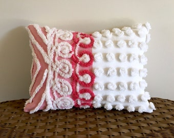 pink pillow cover RASPBERRY CREAM vintage chenille cushion cover, 12 x 16 inches, pink pillow sham, pink nursery pillow cover, berry pillow