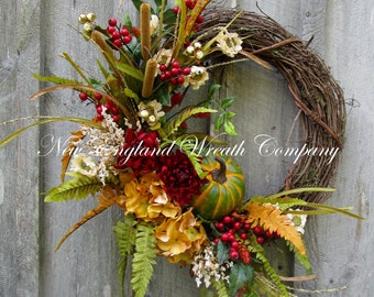 Fall Wreath, Autumn Wreaths, Pumpkin Wreath, Thanksgiving Wreath, Harvest Wreath, Elegant Fall Wreath, Designer Wreath, Fall Floral Wreath