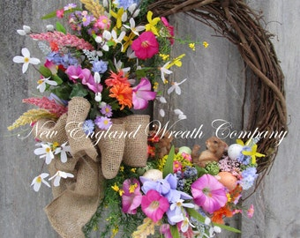Easter Wreath, Spring Wreath, Easter Bunny Wreath, Designer Wreath, Whimsical Easter, Woodland Garden, Nursery Wreath, Spring Floral Wreath