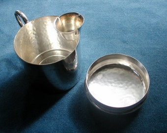 WMF Germany Hammered Silverplate Creamer and Cover Vintage 1950's Mid Century Art Deco Style Hotelware