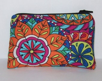 "Pipe Pouch, Colorful Mandala, Pipe Case, Pipe Bag, Padded Pipe Pouch, Hippie Purse, Cute Pouch, Padded Zipper Bag, 420, Coin Purse - 4"" MINI"